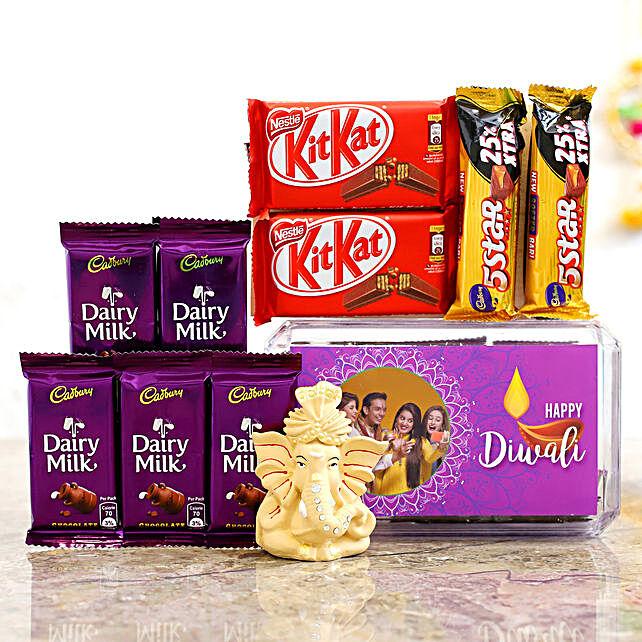 Purple Diwali Box & Beige Ganesha Idol With Chocolates