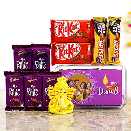 Purple Diwali Box & Pagdi Ganesha Idol With Chocolates:Customised Chocolates