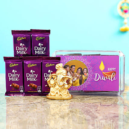 Purple Diwali Box With Golden Ganesha Idol & Dairy Milk
