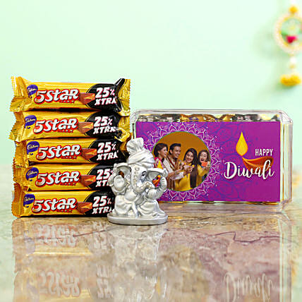 Purple Diwali Box With Silver Ganesha Idol & Cadbury 5 Star Combo