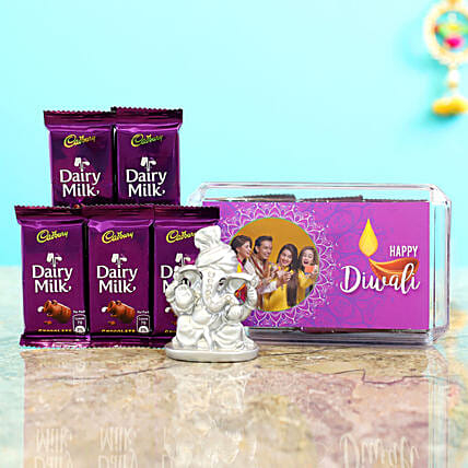 Purple Diwali Box With Silver Ganesha Idol & Dairy Milk