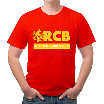 Personalised RCB Red Round Neck T Shirt:Send Personalised Tee Shirts