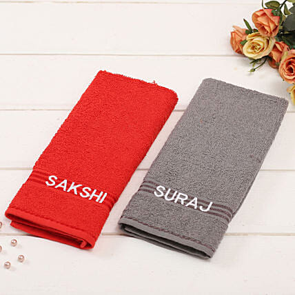 Personalised Red And Grey Cotton Towels