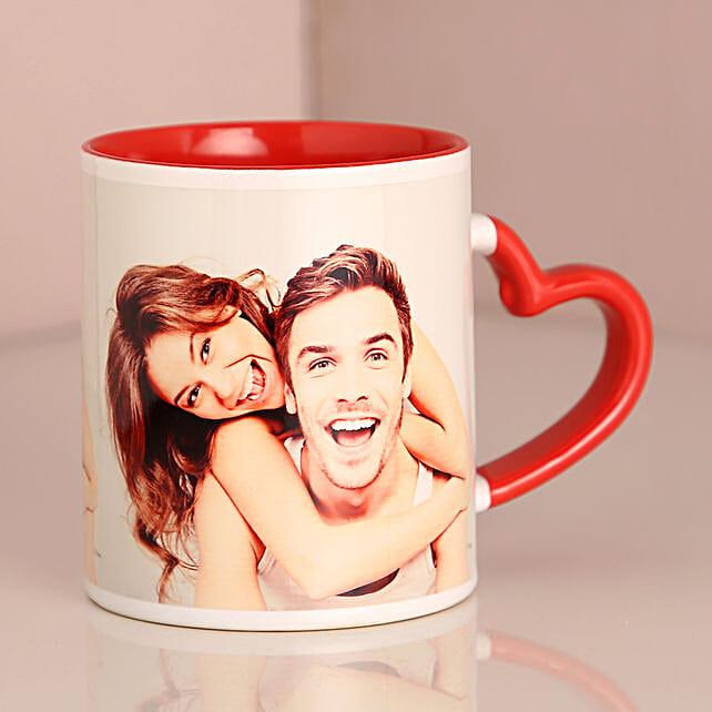 Valentine Red Heart Handle Mug:Send Valentine Personalised Gifts