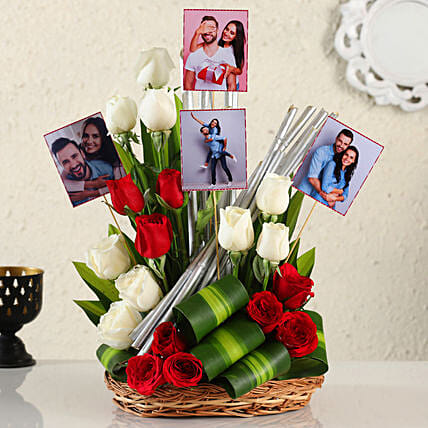 Online Customised Mix Roses Arrangement:Mixed Colour Flowers