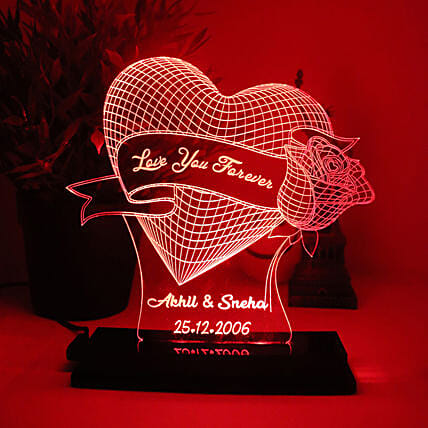 Personalised Rose Heart LED Lamp