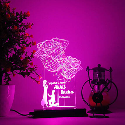 Personalised Rose LED Lamp:Personalised Lamp