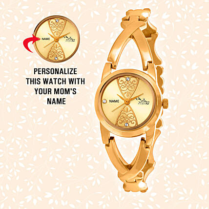 online customised golden watch for her:Send Personalised Gifts for Wife