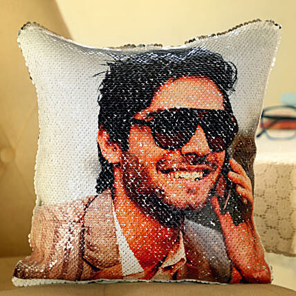 Photo Printed Sequin Cushion For Him:Personalised Cushions for Bhai Dooj