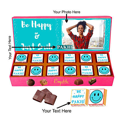 Personalised Smile Please Chocolate Gift Box:Personalised Chocolates Gift For Birthday