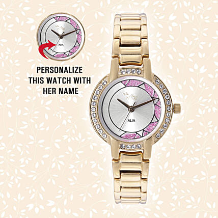 Personalised Sparkling Golden Watch:Personalised Wrist Watch