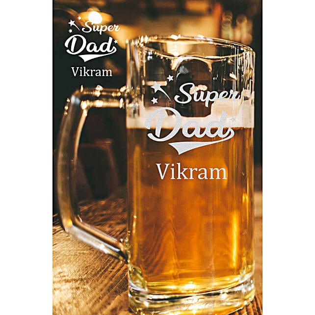 Personalised Super Dad Beer Mug Online:Personalised Beer Glasses