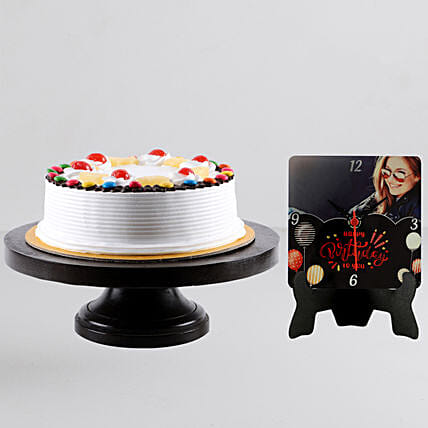 Personalised table clock with cake online