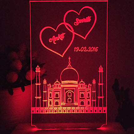 taj mahal shaped red colour night lamp online