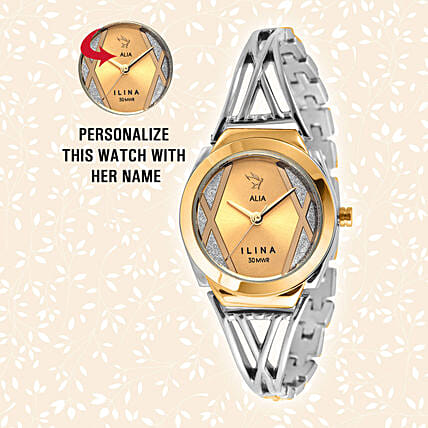 Personalised Trendy Silver & Golden Watch