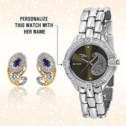 Personalised Watch & Elegant Earrings