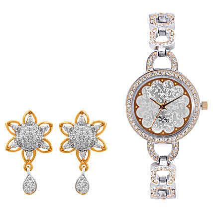 Personalised Watch With Elegant Earrings