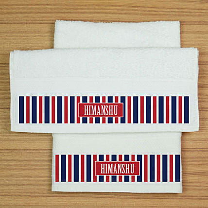 Personalised White Hand Towels Set