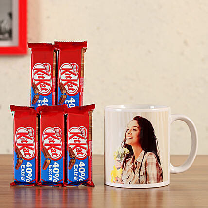 personalised white mug with kit kat