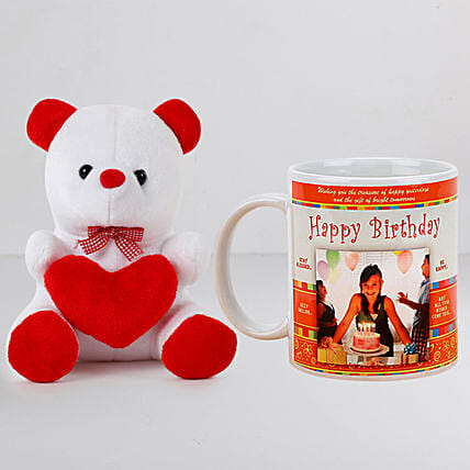 Personalised White Mug With Teddy:Personalised Gifts N Teddy Bears