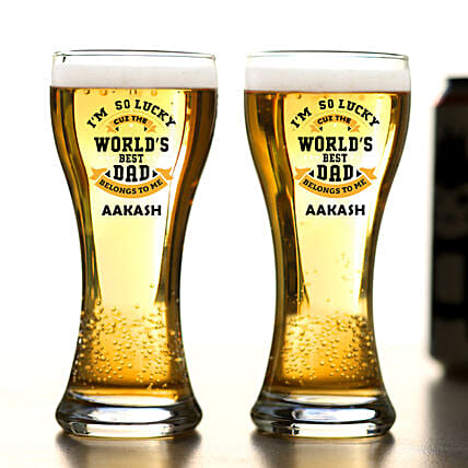 Personalised Worlds Best Dad Beer Glass Set Of 2:Bar Accessories For Father's Day