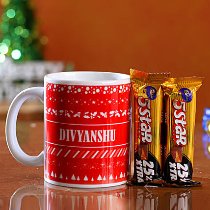 Online Personalised Xmas Wishes Mug & 5 Star Combo