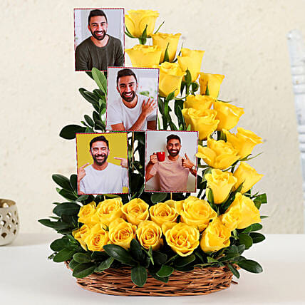 Online Customised Yellow Roses Basket Arrangement:Yellow Flowers