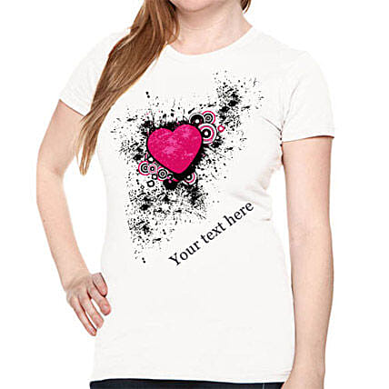 Personalize Your Heart T-shirt For Her-Graffiti heart printed white T-shirt with personal message for girls:T Shirts