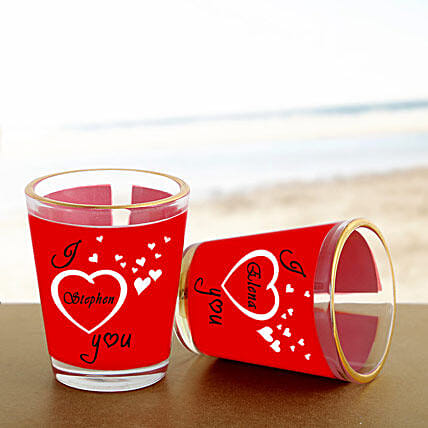 Personalized Couple Shot Glass:Gifts to Raichur