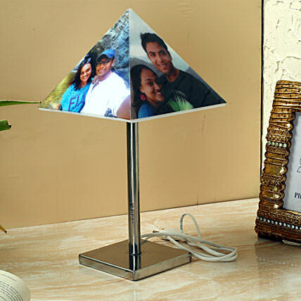 Personalized pyramid lamp with stand
