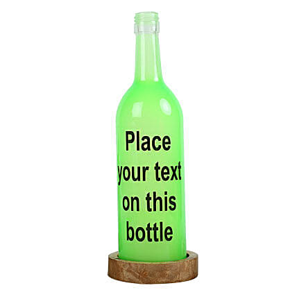 Personalized Lamp-green coloured personalized bottle lamp with message:Gifts to Raichur