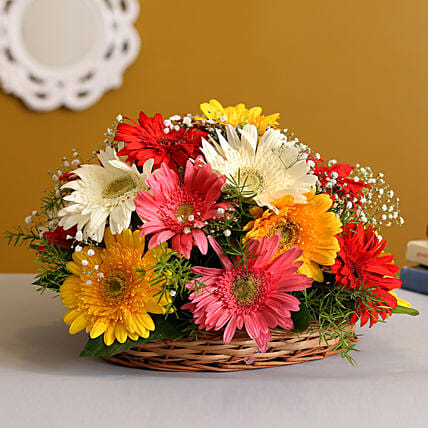 Petite Floral Brilliance:Flower Basket Arrangements