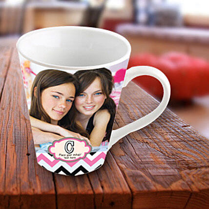 Picture Perfect Personalized Mug-Photograph and initials printed on personalized mug:Birthday Gifts Tirupur
