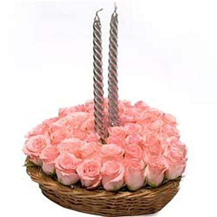 Pink Always Perfect - Basket Arrangement of 40 Pink Roses with 2 silver color candles.
