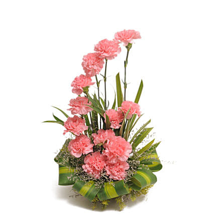 Bright Blush - Basket arrangement of 15 Pink carnations flowers womens day women day woman day women's day:Mothers Day Gifts Jaipur