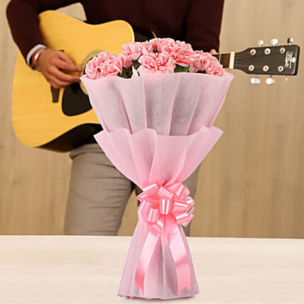 pink carnations bouquet with musical  rhythms online:Gifts N Guitarist Service