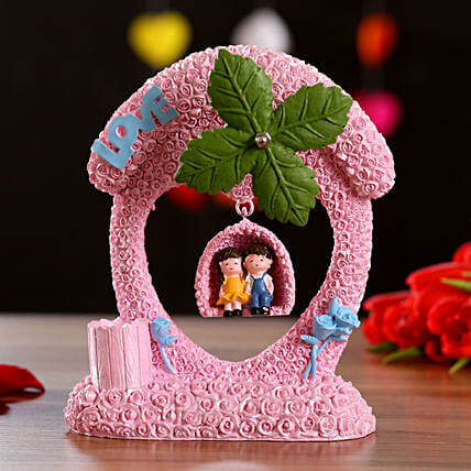 Pink Couple On Swing Musical Decor