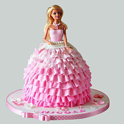 Pink Dress Barbie Cake 2kg Chocolate Gift Fairy Barbie Cakes 2kg