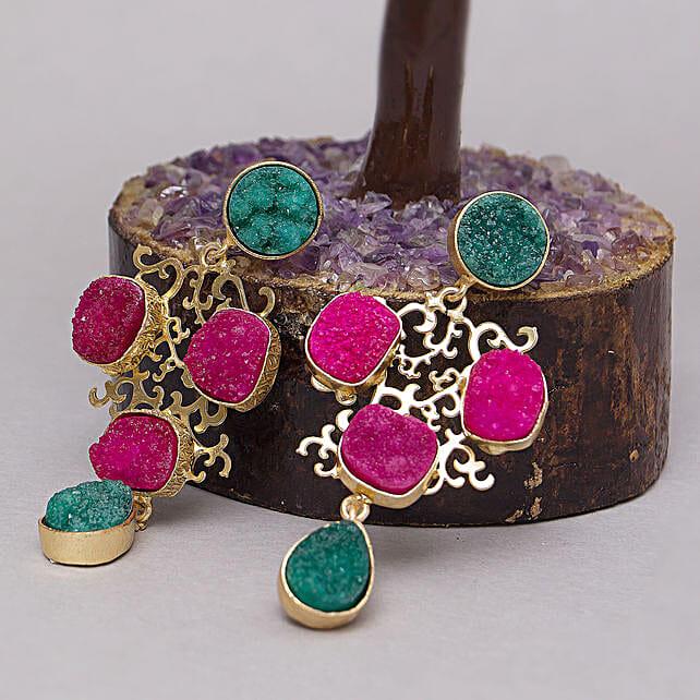 Pink Geometric Earrings