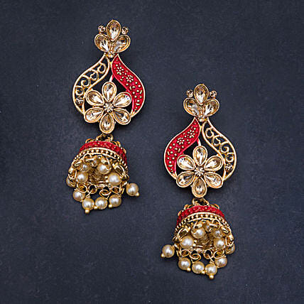 pink golden jhumka earrings online