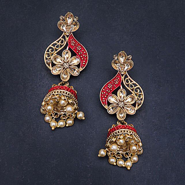 pink golden jhumka earrings online