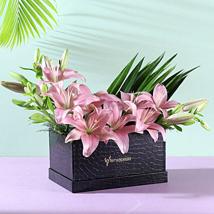 lilies flower in designer box arrangement:Flowers for Women's Day