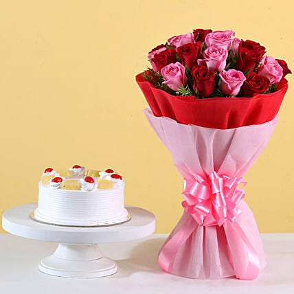 Pink N Red Roses & Pineapple Cake Combo:Buy Flowers Combo