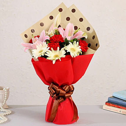 carnations n lily bouquet online