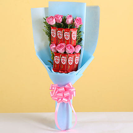 Pink Roses Bouquet & KitKat Combo:Wafer Chocolates