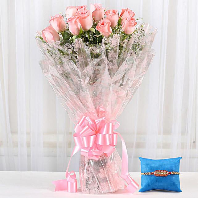 Online Pink Roses & Capsule Rakhi