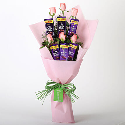 Rose N Cadbury Chocolate Combo Online:Flower & Chocolates for Fathers Day