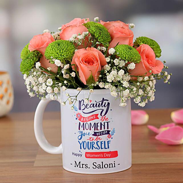 Pink Roses In Happy Women Day Mug