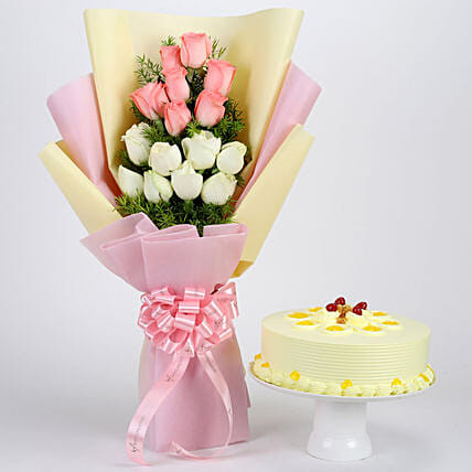 Pink and White Roses Bouquet with Cake Combo