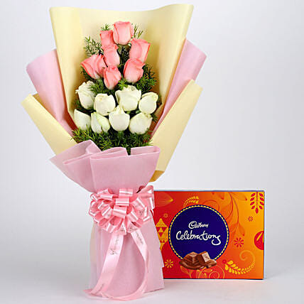Pink and White Roses with Chocolate Online:Chocolate Combos For Mothers Day